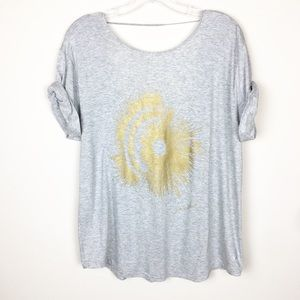 Free People Movement Small Short Sleeve Gray Top